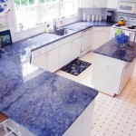 Blue Bahia kitchen counters and island.