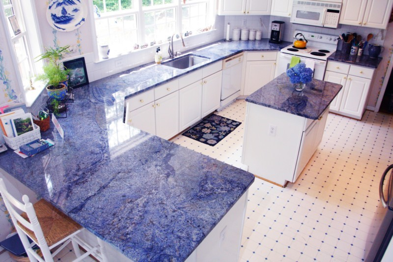 Awesome Blue Bahia Kitchen Counters And Island.